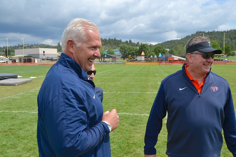 With a new head football coach Dana Dimel (L) and a new athletic director Jim Senter, UTEP fans can expect some changes. Start with the shade of orange for the helmets and game uniforms.