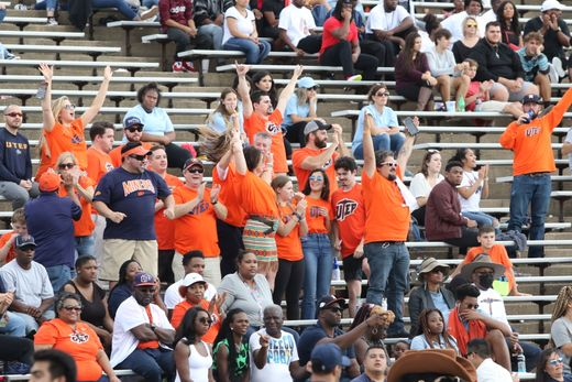 UTEP fans in Houston last week shout their approval as the Miners beat Rice to end a 20-game losing streak.