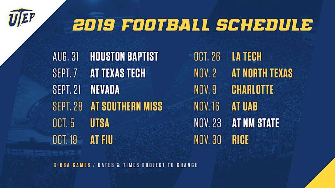 UTEP football schedule 2019